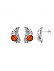 Round amber earrings and openwork frame in rhodium silver 31318193 Nature d'Ambre 59,90 €
