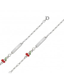 Bracelet identity baby girl rhodium silver with a red cherry 3180672 Suzette et Benjamin 42,00 €