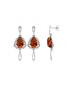 Pendant earrings baroque style frame Amber stone and rhodium silver 31318190 Nature d'Ambre 142,00 €