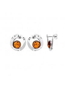 Earrings circle effect hammered with round stone Amber, silver rhodium 31318182 Nature d'Ambre 92,50 €