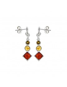 Amber and silver 3 round stones and diamonds dangling earrings 3130427 Nature d'Ambre 32,00€