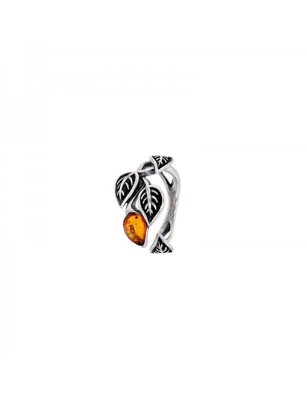 Leaf-shaped ring in cognac amber and aged silver, rhodium silver 311001 Nature d'Ambre 119,90€