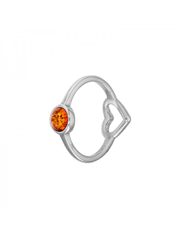 Small amber stone ring with openwork heart in rhodium silver 311738 Nature d'Ambre 32,90€
