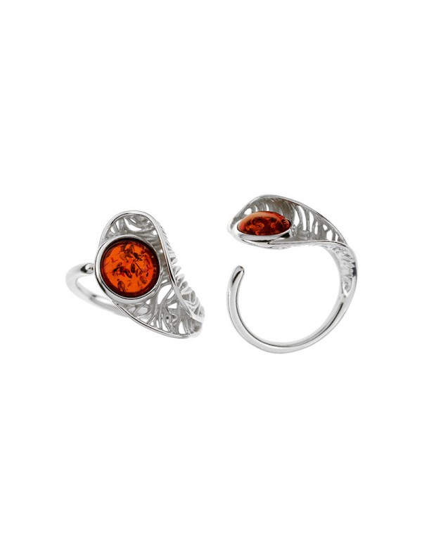 Adjustable ring round amber and openwork frame in rhodium silver 311731 Nature d'Ambre 56,00€