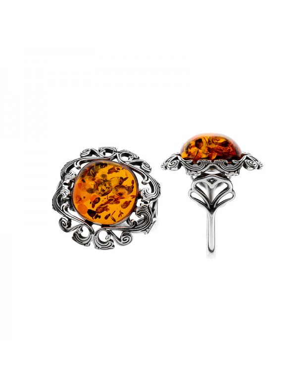 Baroque style frame ring with amber stone and rhodium silver 311729 Nature d'Ambre 99,90€