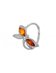 Dragonfly-shaped ring in honey amber and rhodium silver 311742 Nature d'Ambre 49,90 €