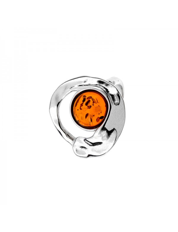 Hammered effect circle ring with round stone Amber, rhodium silver 311721 Nature d'Ambre 79,90€