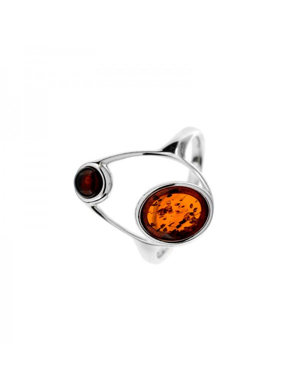 Circle ring with circles in cognac amber and cherry, rhodium silver 311709 Nature d'Ambre 45,00€