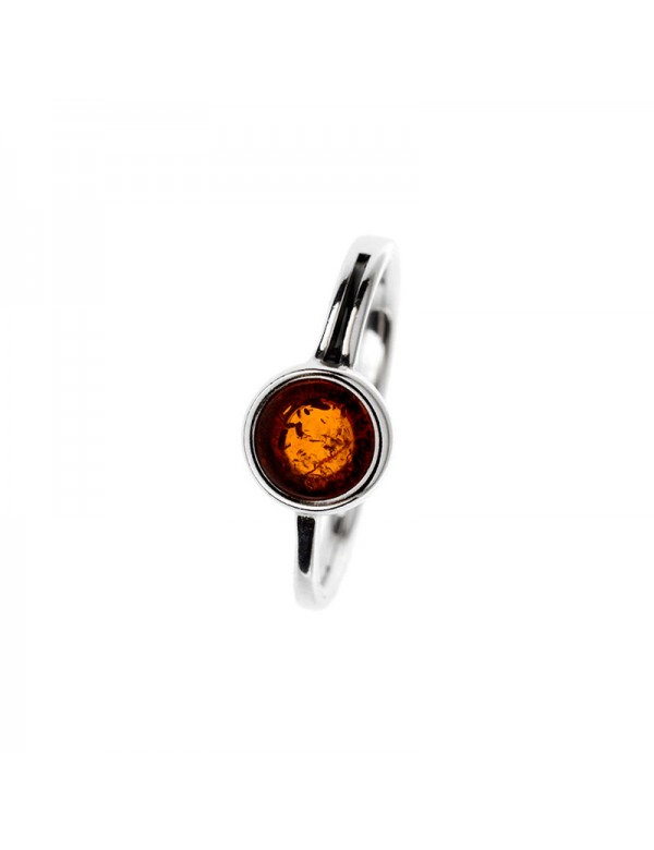 Round ring in cognac-colored Amber and rhodium-plated silver frame 311723 Nature d'Ambre 37,90€