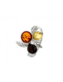 Leaf ring adorned with cognac, cherry and citrine amber stones, rhodium silver 311727 Nature d'Ambre 48,50€