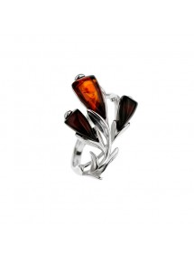Flower ring Cognac amber and cherry-colored petals, rhodium silver 311728 Nature d'Ambre 52,00€