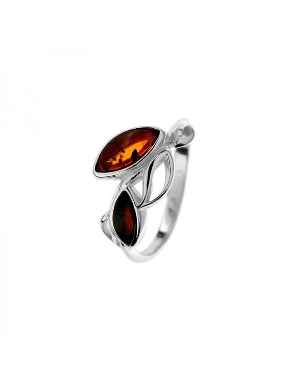 Leaves ring in Cognac and cherry amber and rhodium-plated silver frame 311730 Nature d'Ambre 46,90€