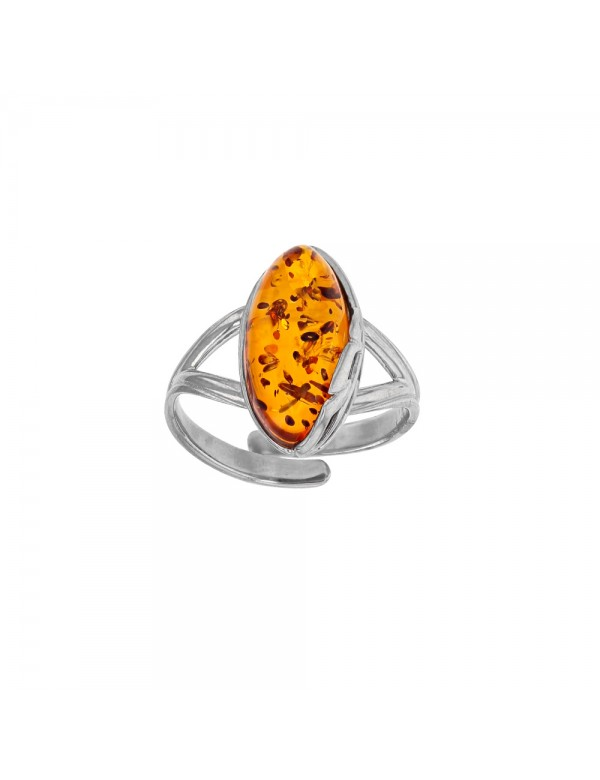 Adjustable oval amber ring with leaf frame in rhodium silver 311652RH Nature d'Ambre 38,50€