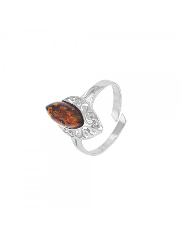 Adjustable ring in oval amber and openwork rhodium silver 311585RH Nature d'Ambre 36,90€