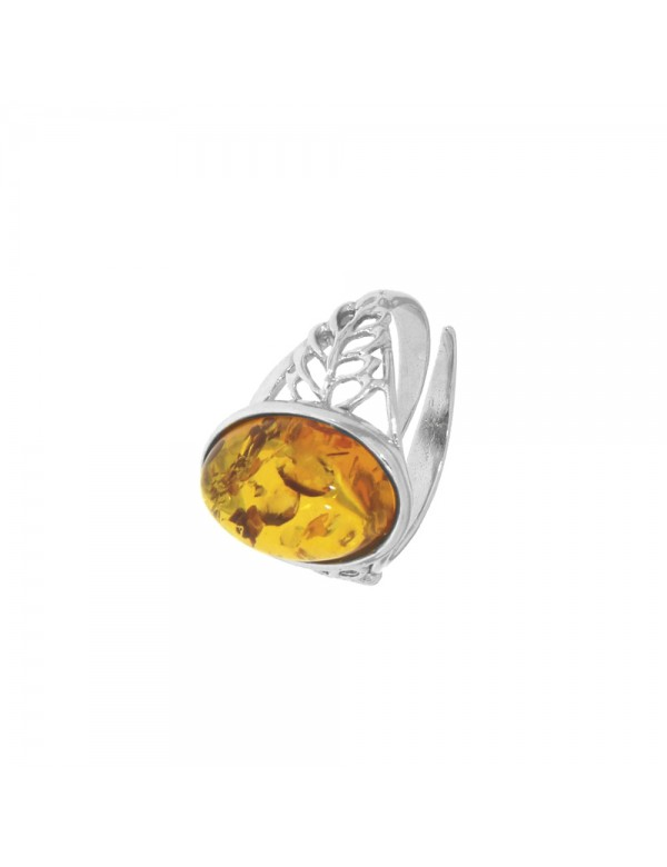 Amber adjustable ring in rhodium silver adorned with leaves 311584RH Nature d'Ambre 62,00€