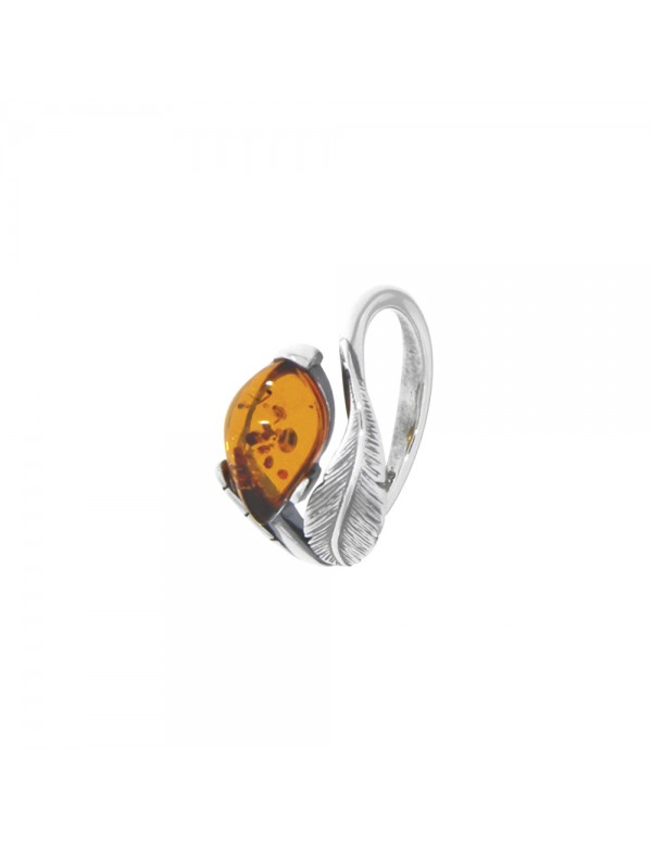 Adjustable ring in Amber with feather motif in aged silver 311590V Nature d'Ambre 56,00€
