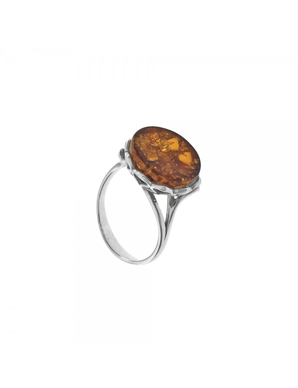 Adjustable ring in amber with lace frame in rhodium silver 3111401RH Nature d'Ambre 69,90€