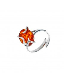 Rhodium-plated silver ring adjustable in honey-colored amber 3111273RH Nature d'Ambre 45,90€