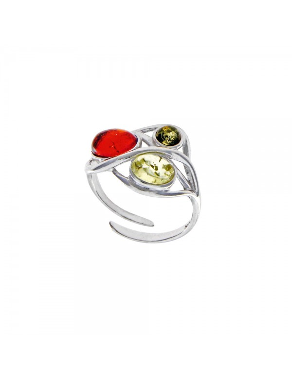 Adjustable ring with 3 amber stones, rhodium silver 3111274RH Nature d'Ambre 54,00€