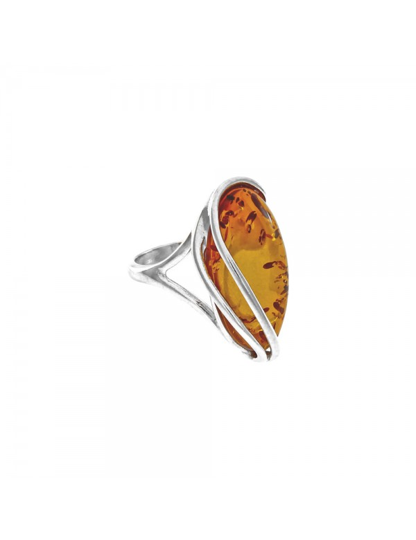 Silver ring with honey amber with elongated stone 3111157 Nature d'Ambre 69,90€