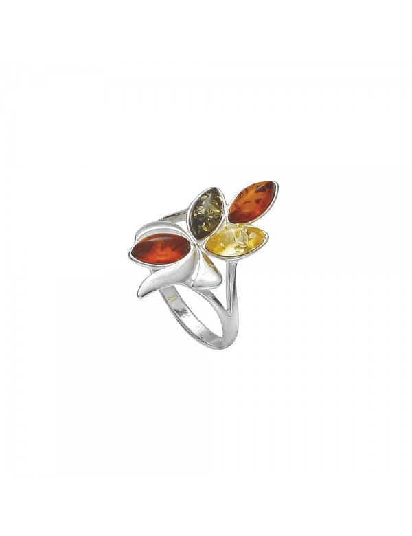 Silver leaf ring with amber 3111166 Nature d'Ambre 43,50€
