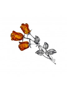 Silver brooch in twig of cognac amber roses 312205 Nature d'Ambre 99,90€