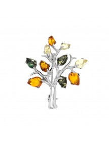 Tree brooch in citrine, cognac and green amber with rhodium-plated silver frame 312022RH Nature d'Ambre 89,90 €