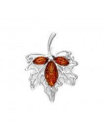 Maple leaf brooch in rhodium silver and cognac amber stones 312026 Nature d'Ambre 46,00 €