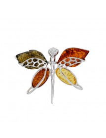 Butterfly brooch in cognac, green and citrine amber, silver 312027 Nature d'Ambre 162,00€