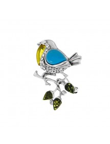Bird brooch on branch Green amber, reconstituted turquoise, oxides and silver 312024 Nature d'Ambre 149,90€