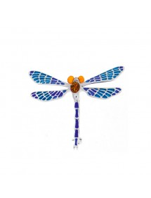 Amber dragonfly brooch, blue enamel and 925/1000 silver 312025 Nature d'Ambre 199,00€
