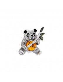 Panda brooch in rhodium silver, cognac and green amber, black enamel 312011 Nature d'Ambre 229,00 €