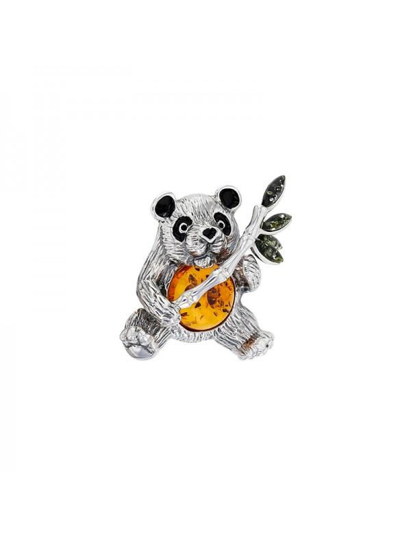 Panda brooch in rhodium silver, cognac and green amber, black enamel 312011 Nature d'Ambre 229,00€
