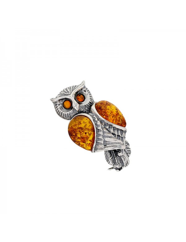 Owl brooch in rhodium silver and cognac amber 312009 Nature d'Ambre 172,00€
