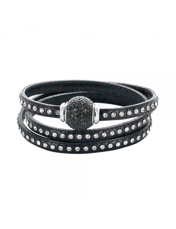 Triple wrap bracelet in black cowhide leather adorned with synthetic stones and clasp with jeweled pearl 314192N57 Baci Belli...