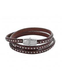 Braunes Triple Wrap Armband mit Kunststeinen und Rindsleder 314194M57 Baci Belli 79,90€