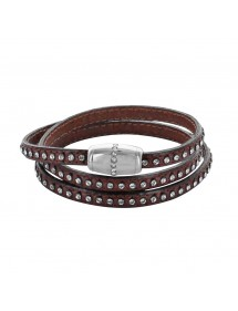 Brown triple wrap bracelet with synthetic stones and cowhide leather 314194M57 Baci Belli 79,90 €