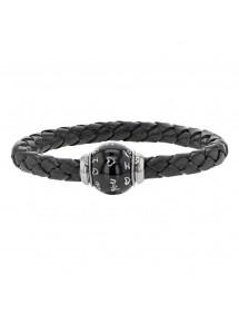 Bracciale in pelle bovina nera anilina intrecciata, chiusura magnetica in acciaio e perla in acciaio smaltato - 18 cm 314180N...