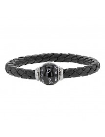 Braided black aniline bovine leather bracelet, magnetic steel clasp and enamelled steel bead - 18 cm 314180N18 Baci Belli 69,...