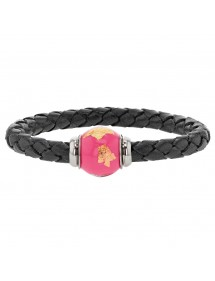 Braided black aniline bovine leather bracelet, magnetic steel clasp and pink enamelled steel bead - 18 cm 314183N18 Baci Bell...