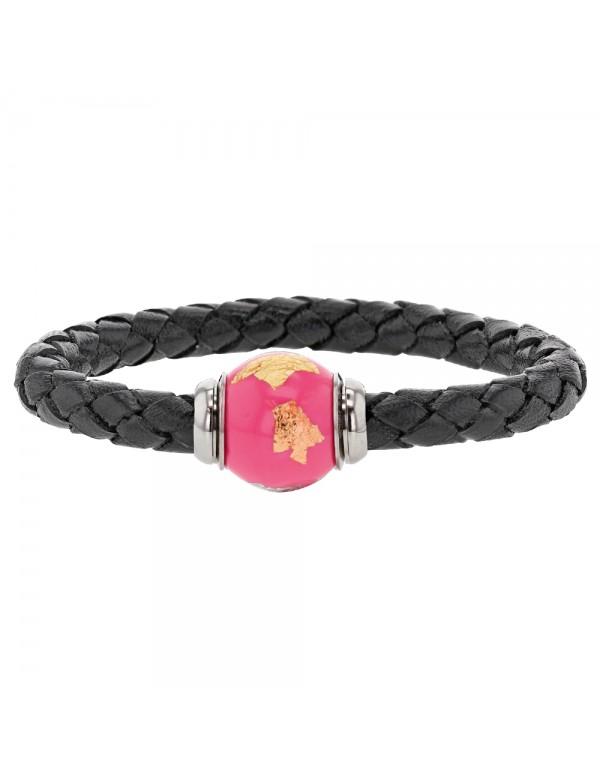 Braided black aniline bovine leather bracelet, magnetic steel clasp and pink enamelled steel bead - 18 cm 314183N18 Baci Bell...