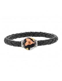 Geflochtenes Armband aus schwarzem Rinderleder aus Anilin, magnetischer Stahlverschluss und dreifarbig emaillierter Stahlperl...