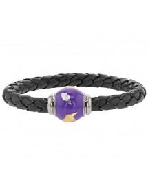 Bracelet cuir de veau aniline noir tressé, perle en acier émaillé violet - 18 cm 314185N18 Baci Belli 69,90€