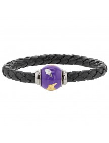 Braided black aniline bovine leather bracelet, purple enamelled steel bead - 18 cm 314185N18 Baci Belli 69,90 €