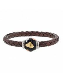 Bracelet cuir de veau aniline marron tressé, perle en acier émaillé tricolore - 18 cm 314184M18 Baci Belli 69,90€
