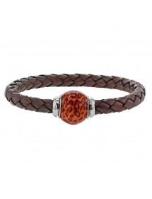 Bracelet cuir de veau aniline marron tressé, perle en acier émaillé bicolore - 18 cm 314190M18 Baci Belli 69,90€