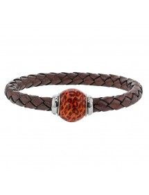 Braided brown aniline bovine leather bracelet, two-tone enamelled steel bead - 18 cm 314190M18 Baci Belli 69,90 €