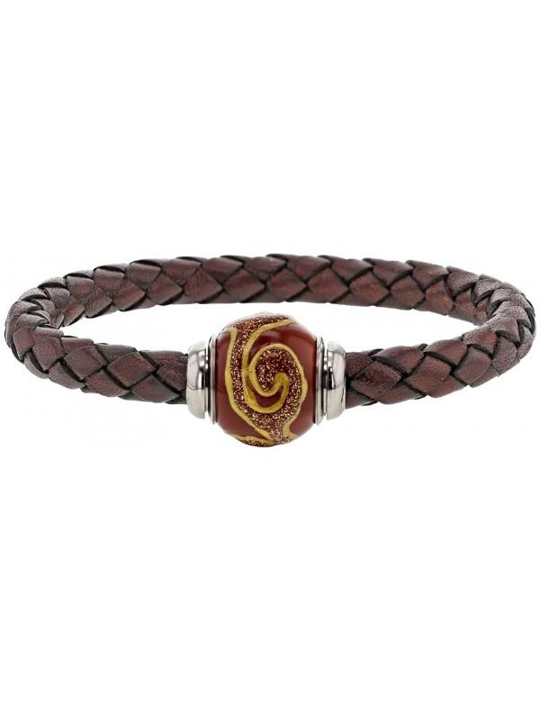 Braided brown aniline bovine leather bracelet, brown enamelled steel bead - 18 cm 314188M18 Baci Belli 69,90€