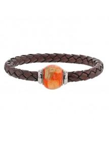 Bracelet cuir de veau aniline marron tressé, perle en acier émaillé orange - 18 cm 314187M18 Baci Belli 69,90€