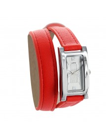 Lutetia red watch, rectangle case and double leather strap 750112R Lutetia 69,90€